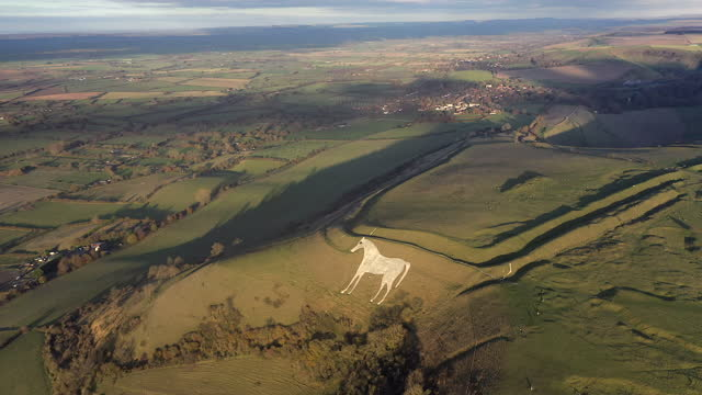 aerial view of the famous white horse below bratton camp, an iron age hillfort near westbury, wiltshire, england - ウィルトシャー州点の映像素材/bロール