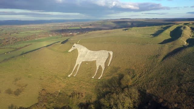 aerial view of the famous white horse below bratton camp, an iron age hillfort near westbury, wiltshire, england - history stock videos & royalty-free footage