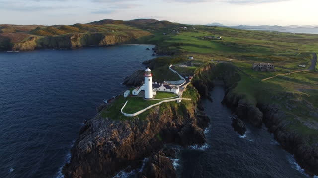 Aerial view of the Fanad Head Lighthouse. County Donegal, Ireland.