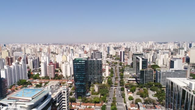 aerial view of the financial center at faria lima district in sao paulo - avenue stock videos & royalty-free footage
