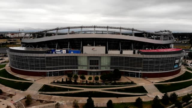 Aerial view of the front of the Denver Sports Arena in Colorado