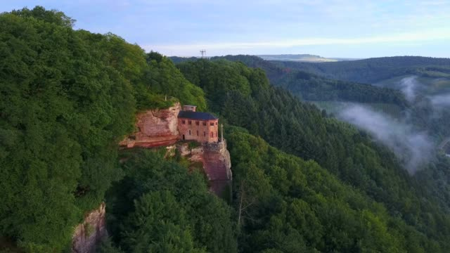 aerial view of the funerary chapel for john of luxembourg, kastel-staadt, saar valley, rhineland-palatinate, germany - rhineland palatinate stock videos & royalty-free footage