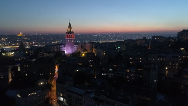 Aerial view of the Galata Tower Tower District in Istanbul
