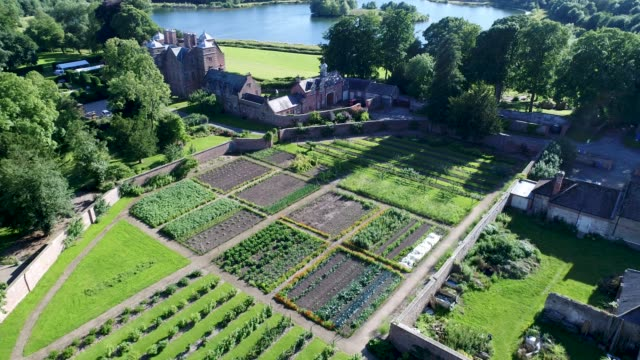 aerial view of the garden at kiplin hall - xvii° secolo video stock e b–roll