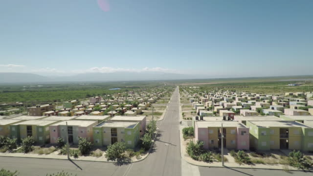 aerial view of the ghost town of lumane casimir - rebuilding stock videos and b-roll footage