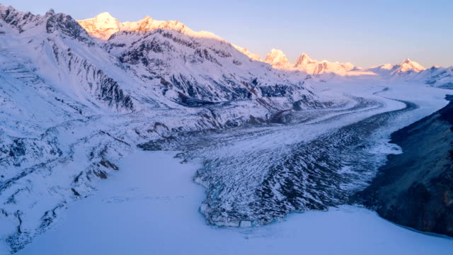 aerial view of the glacier in tibet - time lapse - traditionally tibetan stock videos & royalty-free footage