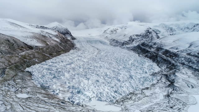 aerial view of the glacier in tibet - arctic stock videos & royalty-free footage