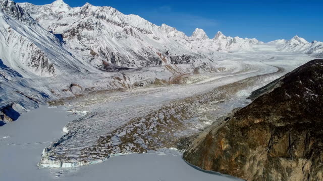 aerial view of the glacier in tibet - polar stock videos & royalty-free footage