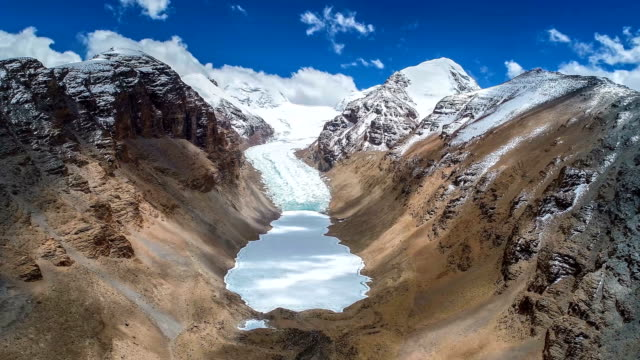 aerial view of the glacier in tibet - traditionally tibetan stock videos & royalty-free footage