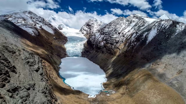 aerial view of the glacier in tibet - tibetan plateau stock videos & royalty-free footage