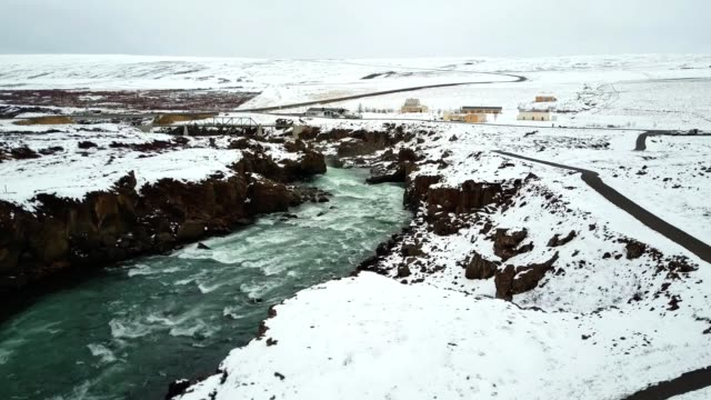 aerial view of the godafoss waterfalls in iceland - icicle stock videos and b-roll footage