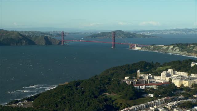 Aerial view of the Golden Gate Bridge from San Francisco's Richmond neighborhood.