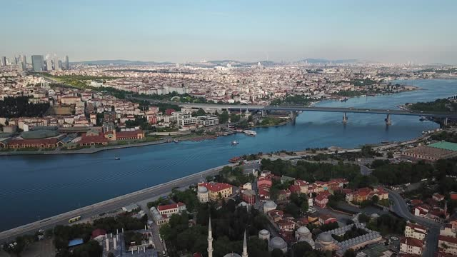 aerial view of the golden horn of istanbul - bosphorus stock videos & royalty-free footage