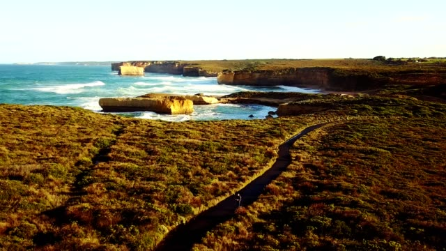 aerial view of the great ocean road coastline - great ocean road stock videos & royalty-free footage