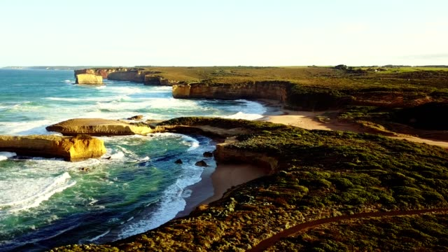 aerial view of the great ocean road coastline - victoria australia stock videos & royalty-free footage