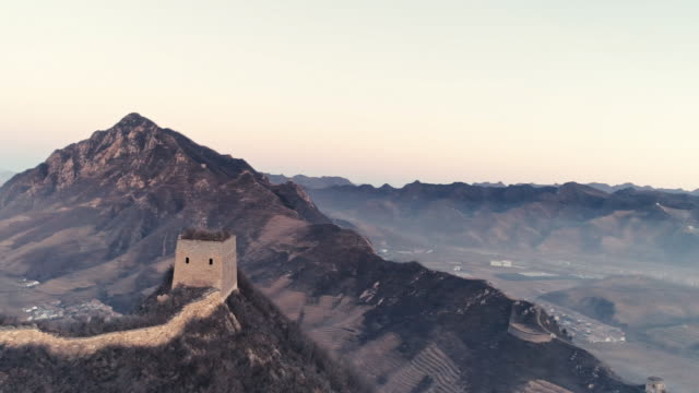 aerial view of the great wall - great wall of china stock videos & royalty-free footage