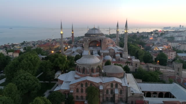 aerial view of the hagia sophia in istanbul - impero video stock e b–roll