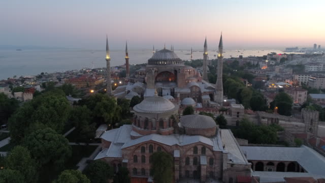 aerial view of the hagia sophia in istanbul - hagia sophia istanbul stock videos & royalty-free footage