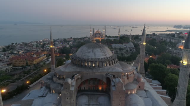 aerial view of the hagia sophia in istanbul - minareto video stock e b–roll