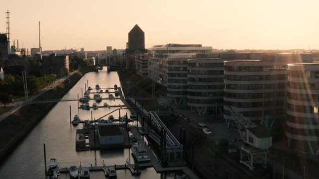 aerial view of the harbour in duisburg, germany - mayor stock videos & royalty-free footage