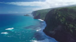Aerial view of the Hawaiian coastline near Polulu valley on the Big Island