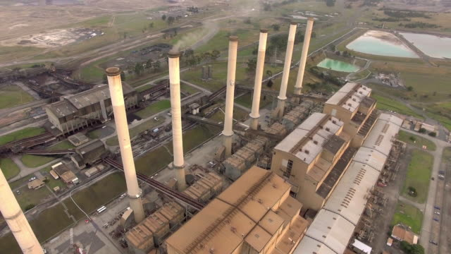 aerial view of the hazelwood power station in the latrobe valley, victoria. - david ewing stock videos & royalty-free footage