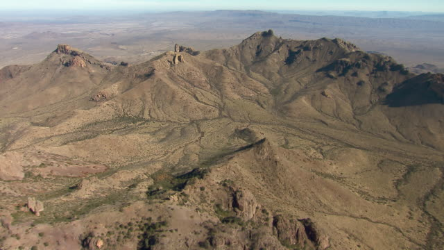 aerial view of the high chisos mountains, big bend national park, texas. - basin and range province stock videos and b-roll footage