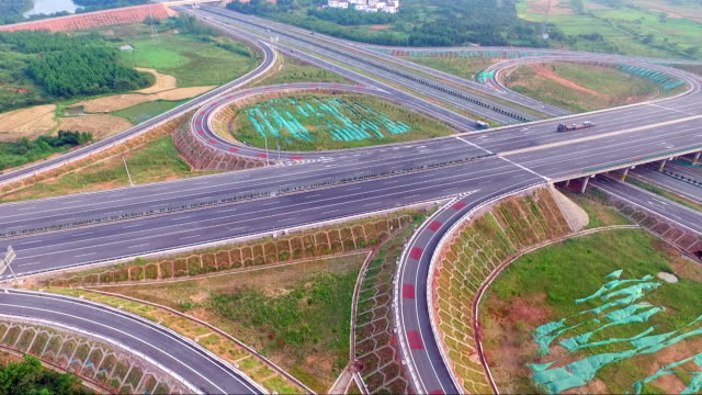 Aerial view of the highway from drone