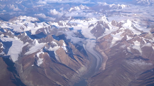 Aerial view of the Himalayas mountain range from the airplane window
