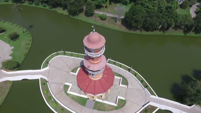 Aerial view of the Ho Withun Thasana Bang PaIn Royal Palace Ayutthaya Thailand Bang PaIn Royal Palace also known as the Summer Palace is a palace...