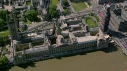 Aerial View of the Houses of Parliament, London, UK. 4K