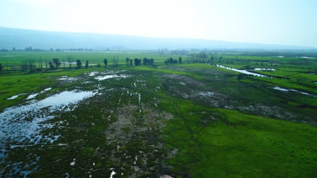 Aerial view of the Hula valley, Israel