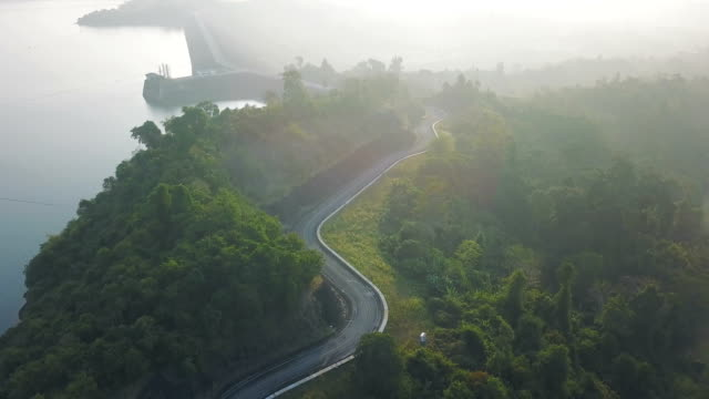 aerial view of the hydroelectric power station at cheow lan lake or rajjaprabha dam reservoir in surat thani province - hydroelectric power stock videos and b-roll footage
