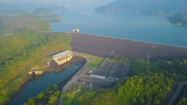 Aerial view of the hydroelectric power station at Cheow Lan Lake or Rajjaprabha Dam Reservoir in Surat Thani Province