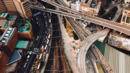 Aerial view of the intersection in Kowloon, Hong Kong