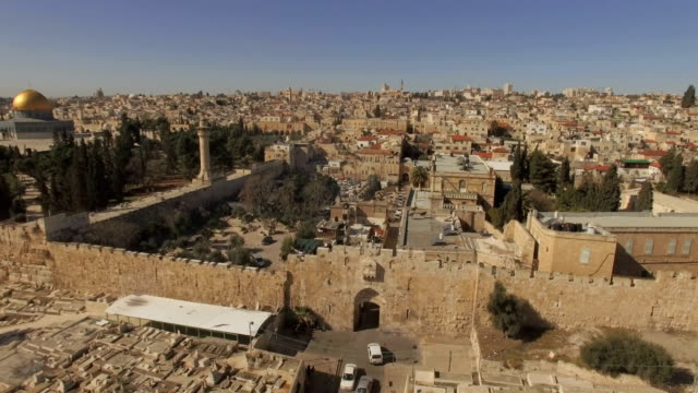 aerial view of the islamic quarter and lions' gate /jerusalem old city  - jerusalem stock videos & royalty-free footage