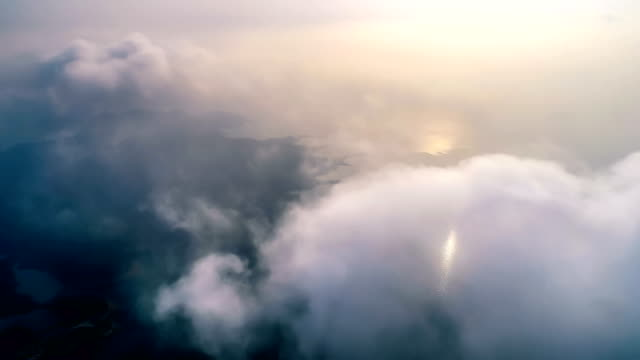 aerial view of the island in fog - monsoon stock videos & royalty-free footage