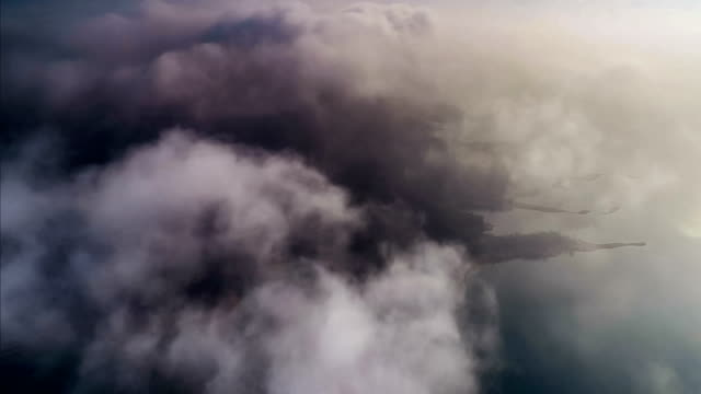 aerial view of the island in fog - covering stock videos & royalty-free footage