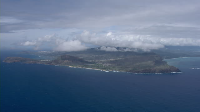 Aerial view of the Island of Oahu, Hawaii, with view of Makapuu Point.