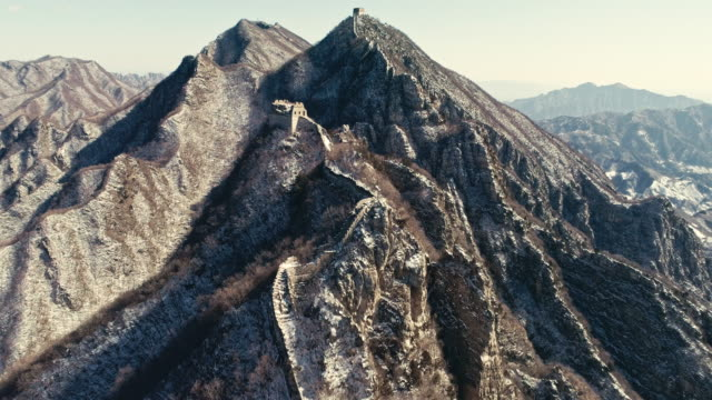 Aerial view of the Jiankou Great Wall on February 23 2017 in Beijing China