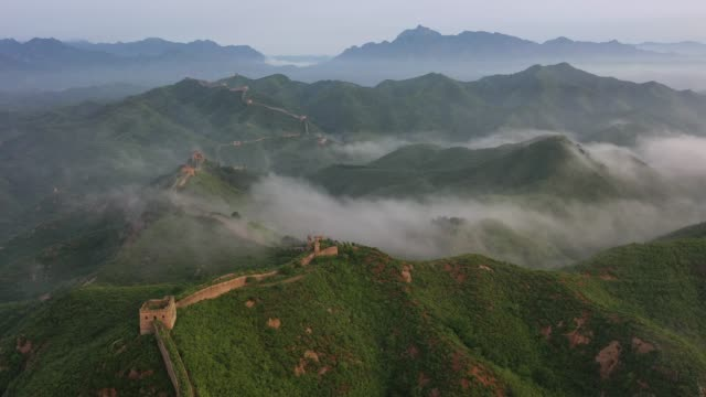 aerial view of the jinshanling great wall after rain on june 27 2020 in chengde hebei province of china - great wall of china stock videos & royalty-free footage