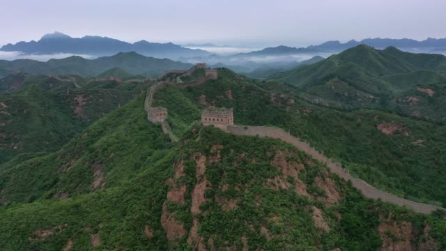 aerial view of the jinshanling great wall on june 26 2020 in chengde hebei province of china - great wall of china stock videos & royalty-free footage