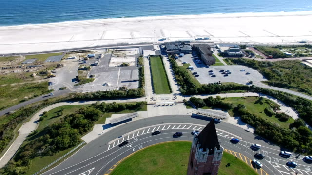 aerial view of the jones beach water tower - long island video stock e b–roll