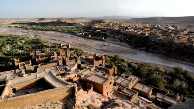 Aerial view of the kasbah of Ait Benhaddou, Morocco, North Africa