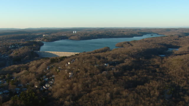 aerial view of the kensico reservoir and dam in westchester county, new york. - reservoir stock videos and b-roll footage
