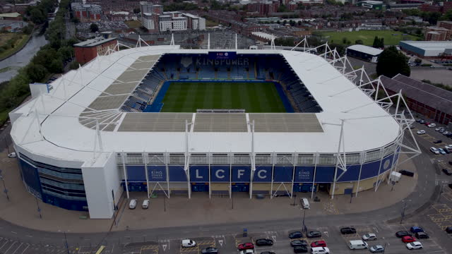 aerial view of the king power football stadium. push-in. - award stock videos & royalty-free footage