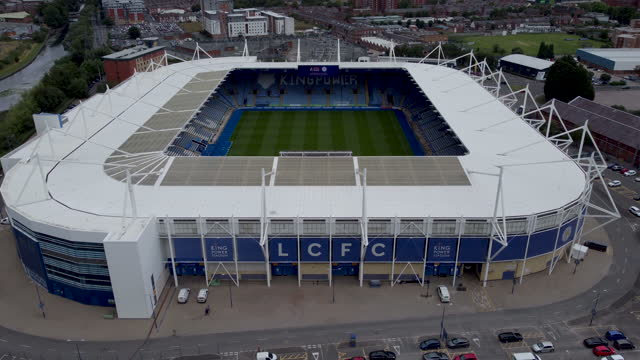 aerial view of the king power football stadium. tilt and push-in. - award stock videos & royalty-free footage