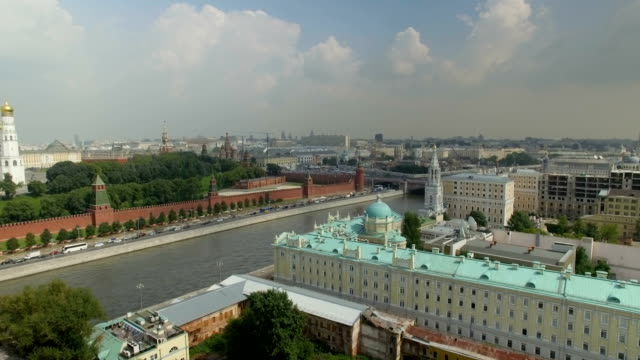 Aerial view of The Kremlin, Dormition Cathedral and Red Square