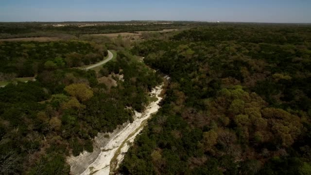 aerial view of the lampasas river in salado texas - dronebase stock videos and b-roll footage