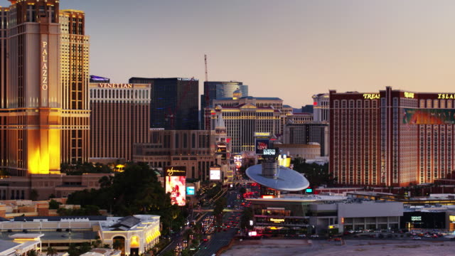 aerial view of the las vegas strip at dusk - the strip las vegas stock videos & royalty-free footage